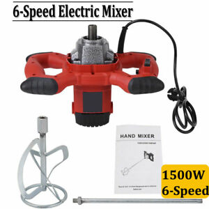 6 speed Electric Mortar Mixer For Stirring Paint Cement Grout Concrete 1500w