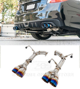 For 15 up Subaru Wrx Sti Quad Burnt Tips Exhaust Muffler Delete Axle Back 4 Inch