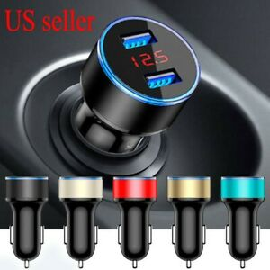 Dual Ports 3 1a Usb Car Auto Cigarette Charger Lighter Digital Led Voltmeter 12v