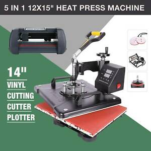 Vinyl Cutter Plotter 14 Usb Sticker Print 5 In 1 12 x15 Heat Press Machine