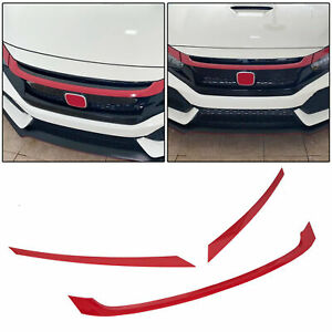 For 2016 2019 Honda Civic Jdm Glossy Red Abs Front Grill Trim Cover Garnish 3pc