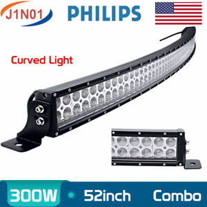 52inch 300w Curved Led Light Bar Combo Offroad Suv Atv 4wd Driving Slim Pk 50