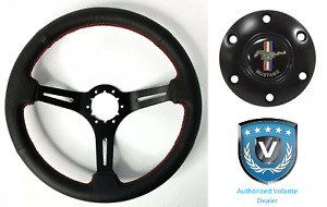 14 Black Perforated 6 Hole Steering Wheel W Ford Mustang Tri Bar Horn Button
