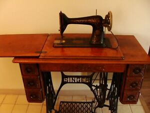 Antique 1900 Singer Treadle 7 Drawer Sewing Machine Oak With Cast Iron Base Vg