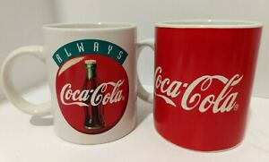 2 coca cola mugs collectible coffee cups vintage 1998