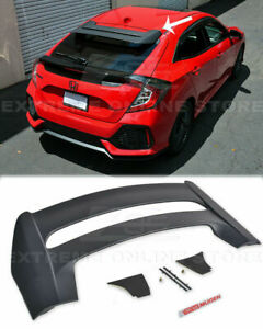 For 16 Up Honda Civic Hatchback Rear Roof Mugen Style Wing Spoiler W Red Emblem