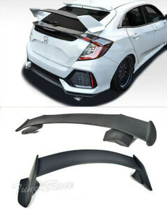 For 16 Up Honda Civic Hatchback Roof Wing Type R Rear Spoiler Jdm Spoon Style