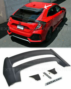 For 16 up Honda Civic Hatchback Rear Roof Mugen Style Wing Spoiler Black Emblem
