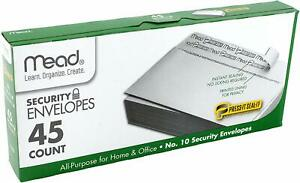 Mead 10 Self Seal Security Envelopes Press it Seal it White For Privacy 45 Ct