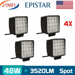 4pcs 48w 4inch Led Work Lights Truck Driving Atv Fog Boat Square Lamp Bumper Ute