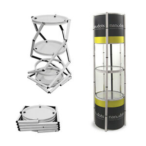 81 Aluminum Spiral Potable Twister Show Case With Shelves top Light clear Panel