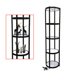 81 Round Aluminum Spiral Tower Display Case With Shelves Panels Top Light Sale