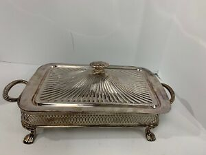 Silver Plated Rectangle Serving Tray With Lid