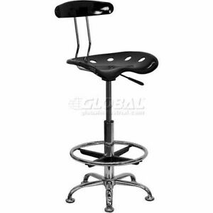 Drafting Stool W tractor Seat Vibrant Black Chrome