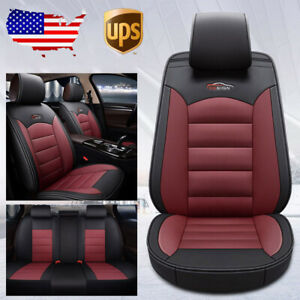 Us Black Red Car 5seat Leather Seat Cover Cushion For Nissan Altima Sentra Rogue