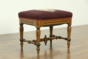 Victorian Antique Walnut Bench Or Stool Needlepoint Upholstery 33183
