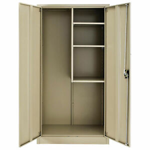 Assembled Janitorial Cabinet 36x18x72 Tan