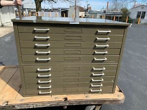Hamilton Flat Files Flatfile Double Unit 10 Total Drawers Art Map Storage