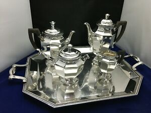 Christofle Silverplate Tea Set Gallia Pattern W Matching Tray Please Read Desc
