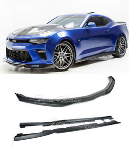 For 16 up Camaro Ss Abs Side Skirts W Cf Side End Caps T6 Front Bumper Lip