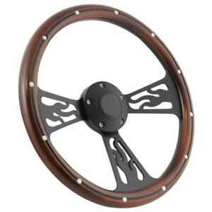 14 Steering Wheel Black Flamed Dark Wood For 1949 1991 Ford Pick Up S