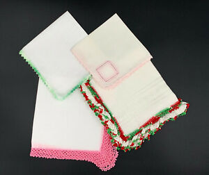 Lot Of 6 Vintage Women S Handkerchiefs 4 W Crocheted Edges 2 Embroidered