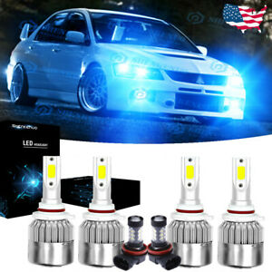 6x Led Headlight Fog Light Bulbs 8000k For Mitsubishi Lancer 2008 2017 Ice Blue