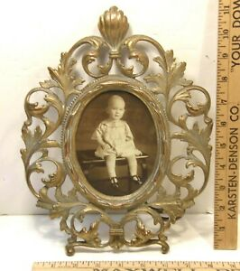 Ornate Vintage Brass Easel Back Picture Frame Victorian Rococo Holds 4 X 5 5