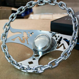 11 Chrome Chain Steering Wheel With Lady Cutouts And Horn For Chevy Cars Trucks