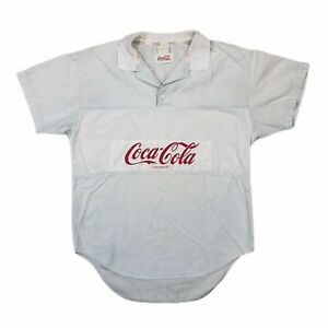 Vintage 80s Coca Cola Rugby Polo Shirt Mens M Short Sleeve Off White Spellout