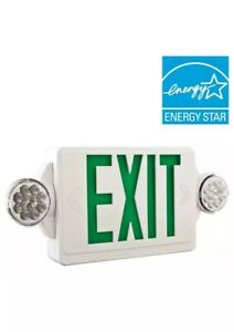 Lithonia Lighting 2 light Led White With Green Stencil Exit Sign emergency Light
