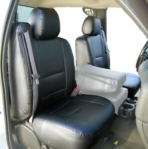 Chevy Silverado 2003 2006 Black S Leather Custom Made Fit 2 Front Seat Covers