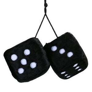 3 Inch Retro Square Mirror Hanging Dice Couple Fuzzy Plush Dice With Dots Black