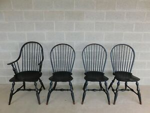 Great Windsor Chair Co Black Distressed Finish Hoop Back Chairs Set Of 4