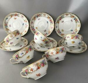 Vtg Schumann Bavaria Empress Dresden Flowers Porcelain Tea Cup Saucer Set Of 6