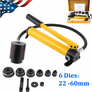 10ton Hydraulic Metal Hole Punch Knockout Set W 6 Dies Tool Hand Pump 22 60mm