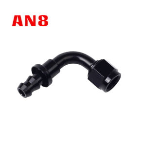 Black An8 An 8 90 Degree Push Lock Oil fuel gas Hose Line End Fitting Adapter Sy