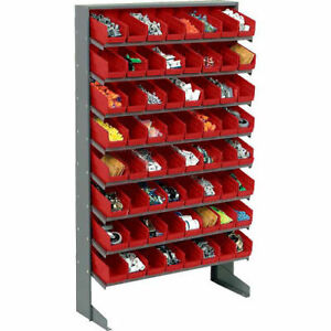 Floor Rack 8 Shelves W 64 4 w Red Bins 33x12x61