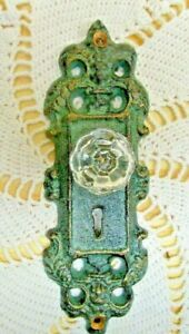 Vintage Style Door Plates With Acrylic Glass Knobs Antique Teal Green
