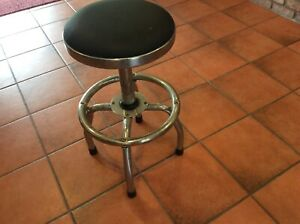 Vintage Industrial Metal Swivel Adjustable Shop Stool Height Highest Lowest