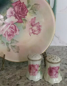 Antique 1920 S Salt Pepper Shakers Hand Painted Pink Roses Victorian Austria