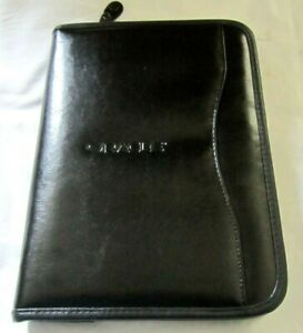 Oracle Black Faux Leather Portfolio Zipper Organizer Case Pocket Planner Classic