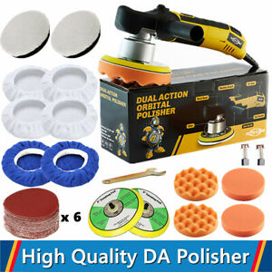 6 Dual Action Car Polisher Buffer Sander Wax Pads Bonnets Kit Polishing Machine