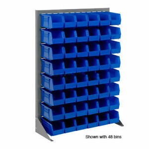 Louvered Bin Rack With 42 Blue Stacking Bins 35 w X 15 d X 50 h