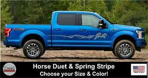 Running Horses Spring Stripe Decal Stickers Graphics Truck Trailer Stickers