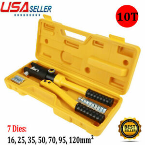10 Ton Hydraulic Wire Crimper Crimping Tool 7 Dies Battery Cable Lug Terminal