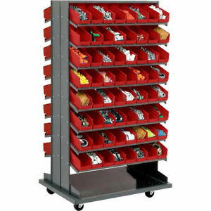 Double sided Mobile Rack 16 Shelvs With 128 4 w Red Bins
