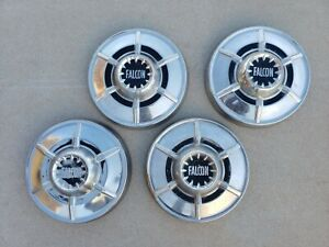 Original 1964 1965 Ford Falcon Hubcap Small Poverty Dog Dish Wheel Cover Pair