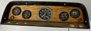 Vintage Real Stewart Warner Gauge Set Dash U S A Fule Oil Amp Temp Speed 0