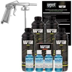 U Pol Raptor Blue Metallic Urethane Spray On Truck Bed Liner W Free Spray Gun 4l
